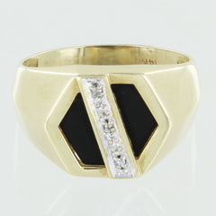 GENTS 14KT GOLD ONYX & DIAMOND RING SIZE 7.5