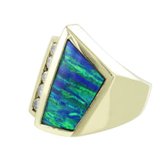 14KT GOLD LADIES DIAMONDS & OPAL COCKTAIL RING