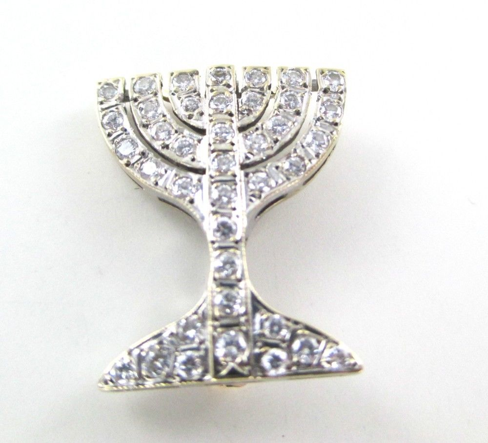 015260503 18KT WHITE GOLD MENORAH PIN BROOCH DIAMOND RELIGIOUS JEWISH  ISRAEL