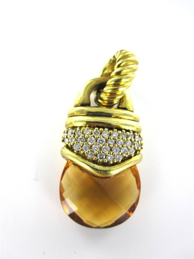 18KT YELLOW GOLD PENDANT DAVID YURMAN CITRINE 32 DIAMOND 11.0DWT DESIGNER LUXURY