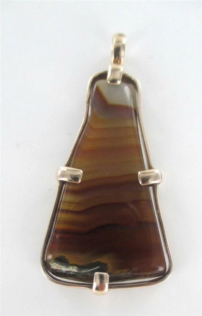 10KT SOLID ROSE GOLD PENDANT TRIANGULAR AGATE STONE FINE JEWELRY PRECIOUS