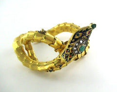 014725604 14KT GOLD SNAKE ANTIQUE VINTAGE DIAMOND EMERALD SAPPHIRES BANGLE