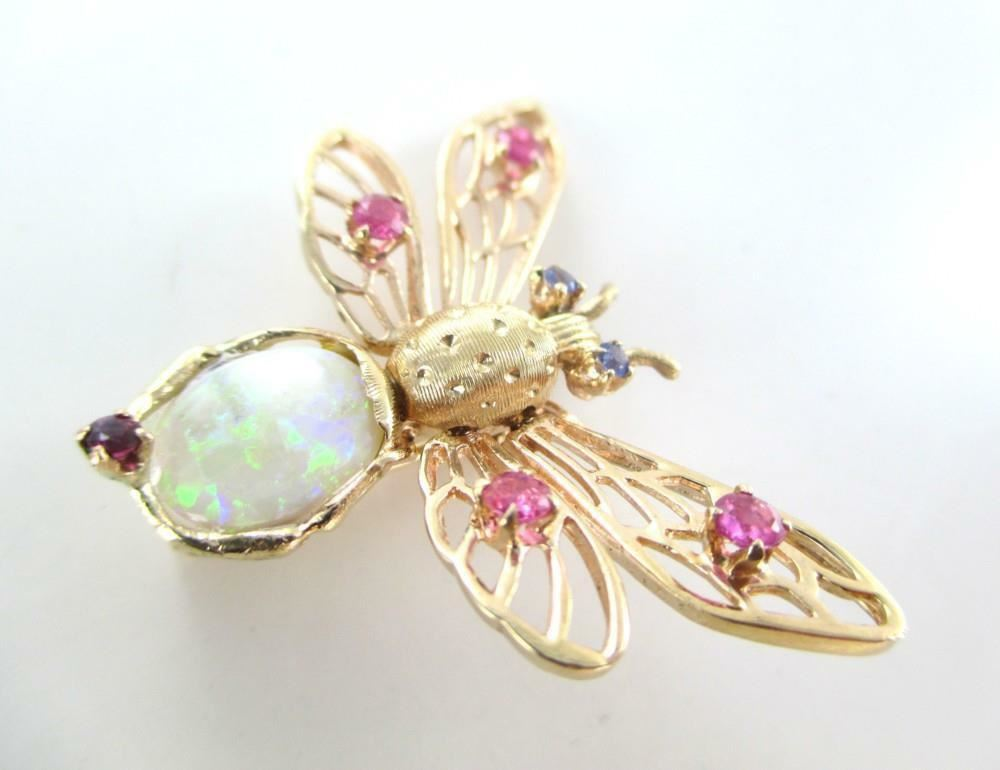 016172916 14K SOLID YELLOW GOLD PIN BROOCH BUTTER FLY RUBY RUBIES OPAL VINTAGE