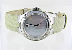 MOVADO SPORT EDITION 1881 DIAMOND BEZEL LIZARD BEIGE LEATHER BAND 015079901