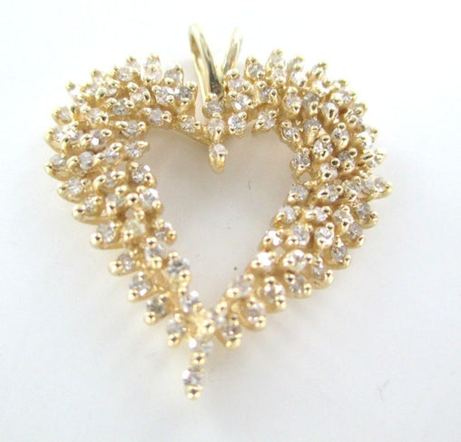 14K KARAT SOLID YELLOW GOLD PENDANT 100 DIAMONDS 1.5 CARAT HEART LOVE JEWELRY