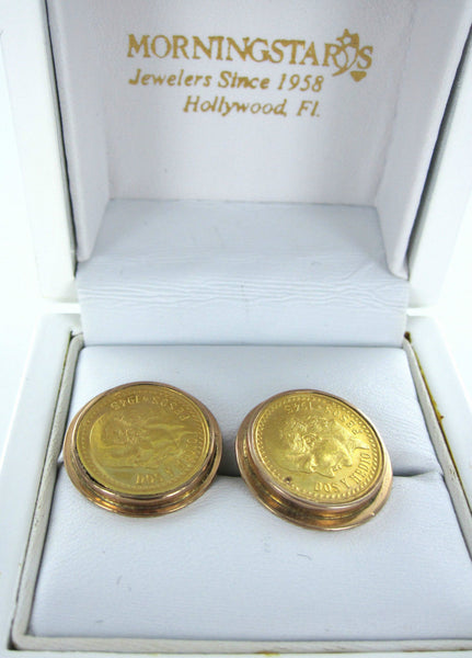 14KT YELLOW GOLD CUFFLINKS 2.5 DOS Y MEDIO PESOS MEXICAN COIN 1945 COLLECTORS