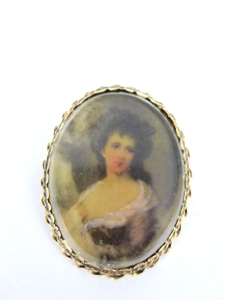 14KT YELLOW GOLD PENDANT PIN BROOCH VINTAGE VICTORIAN PORTRAIT LADY ANTIQUE