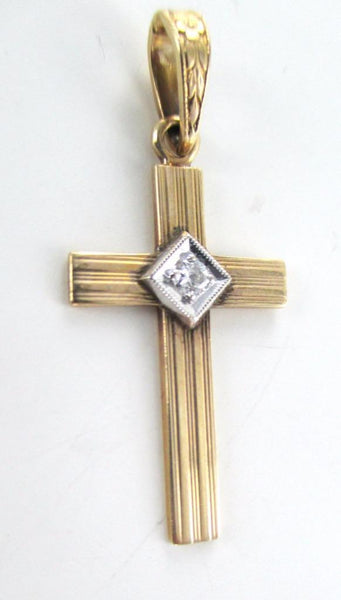 14K SOLID ROSE GOLD PENDANT JESUS CROSS 1.9 GRAM 1 DIAMOND .05 CARAT 015397303