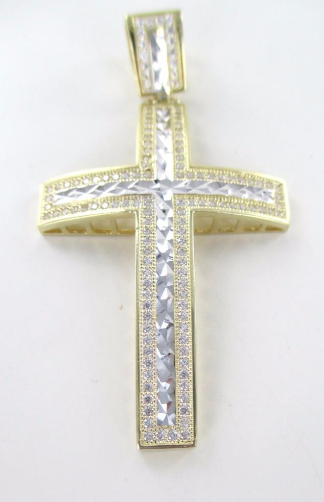 10K YELLOW SOLID GOLD CROSS LARGE WHITE STONES FINE JEWELRY PENDANT 016141402