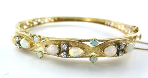 14KT YELLOW GOLD BRACELET BANGLE OPAL 6 DIAMOND VINTAGE ANTIQUE 11.5DWT MD JEWEL