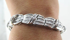 10K WHITE GOLD BRACELET 430 DIAMOND 4.3 CARAT CUFF NO SCRAP FINE JEWELRY