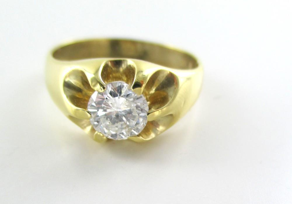 14KT YELLOW GOLD RING 1 DIAMONDS 1.0 CARAT SOLITAIRE 5.5 GRAMS SZ 9 FINE JEWELRY