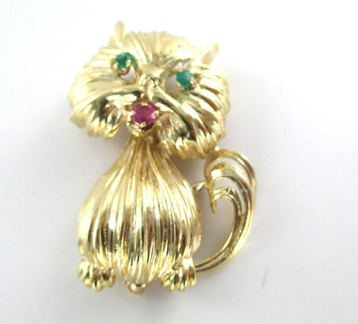 10K SOLID YELLOW GOLD CAT PRECIOUS STONES PIN BROOCH VINTAGE FINE JEWEL NO SCRAP