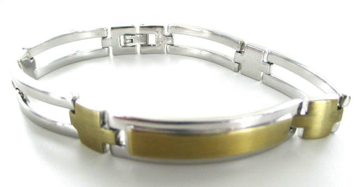 14KT YELLOW GOLD +STERLING SILVER BRACELET LINK MEN 101.3 GRAMS NO SCRAP JEWELRY