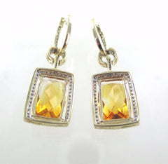 014207009 14KT YELLOW GOLD PRECIOUS STONE CITRINE DIAMOND EARRINGS