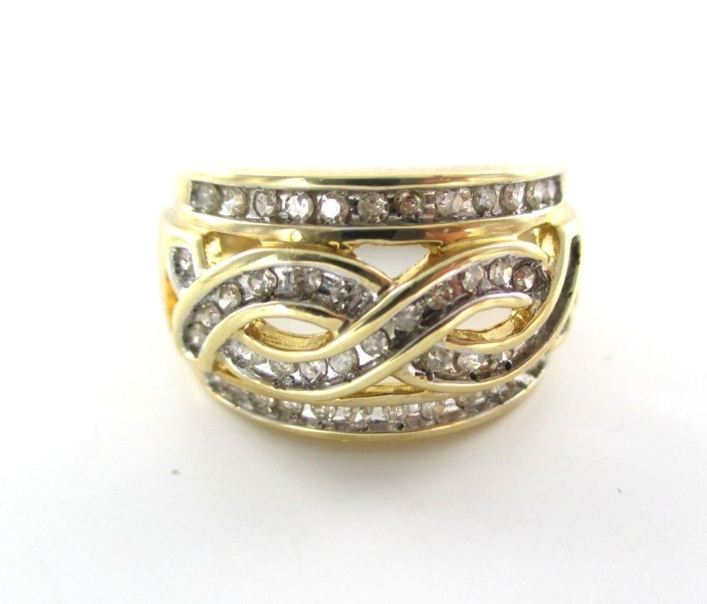 10K GOLD RING 47 DIAMONDS  CHANNEL SETTING DLC DESIGNER WEDDING 012294602