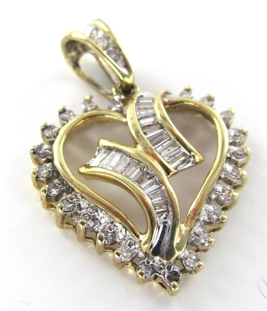 10K SOLID YELLOW GOLD HEART PENDANT VALENTINES LOVE 41 DIAMOND 2.3G 014902901
