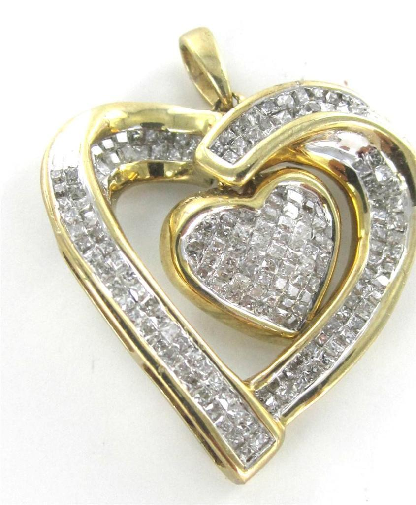 10KT SOLID YELLOW GOLD PENDANT HEART DANGLING 175 DIAMOND PENDANT 014718601