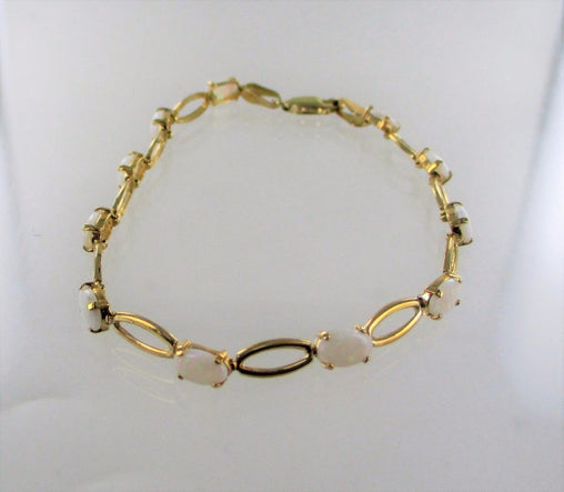 14KT SOLID YELLOW GOLD OVAL LINKS OPAL 7 INCHES BRACELET 013760808