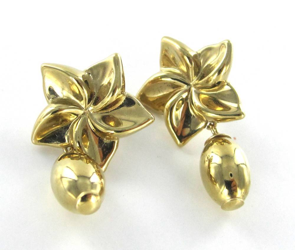 14KT SOLID YELLOW GOLD EARRINGS DANGLE STAR 2.0 GRAMS FINE JEWELRY 013850107
