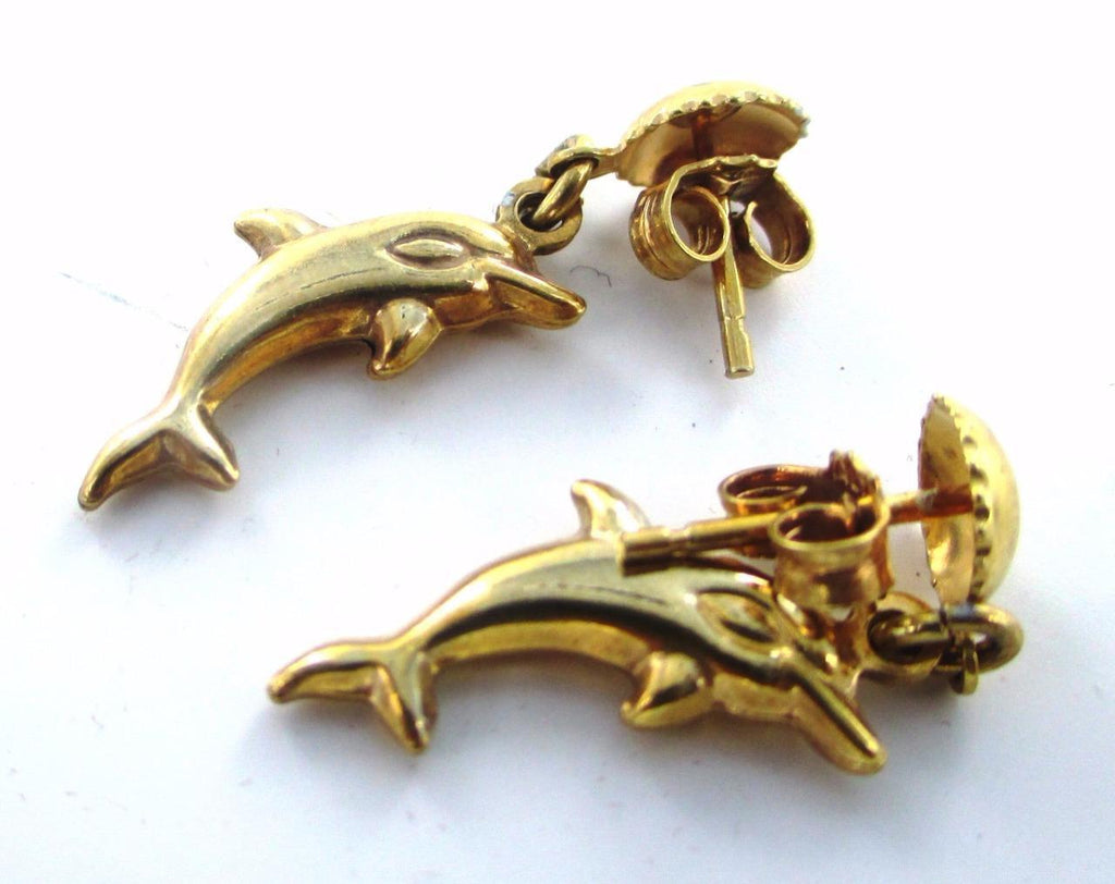 10KT SOLID YELLOW GOLD DOLPHIN OF THE SEA CHARM EARRINGS 015213708