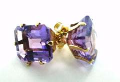 10KT SOLID YELLOW GOLD PURPLE STONE SQUARE DESIGN BUTTERFLY FASTENING EARRINGS