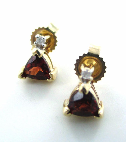 10KT SOLID YELLOW GOLD 2 DIAMONDS GARNET EARRINGS