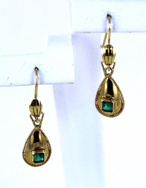 18KT SOLID YELLOW GOLD GREEN EMERALD TEAR DROP HEART CHAKRA DANGLING EARRINGS