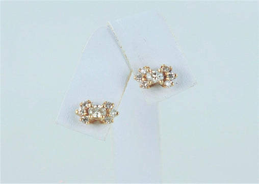 14K YELLOW GOLD 14 ROUND DIAMOND .65 ATW STUDS BOWTIE 2.02 GRAMS 014987903