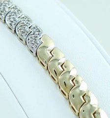 1.50 CARAT DIAMOND atw 14 KARAT YELLOW GOLD LINK DIAMOND BRACELET #016150401