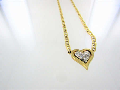 "18KT YELLOW GOLD DIAMOND HEART ANCHOR CHAIN 17"" 014346108"