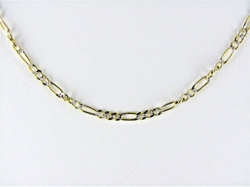"10KT TWO-TONE FIGARO LOBSTER CLAW CHAIN 18"" 016090602"