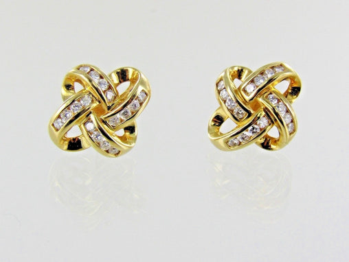 14KT YELLOW GOLD DIAMOND KNOT STUD EARRINGS 016388703