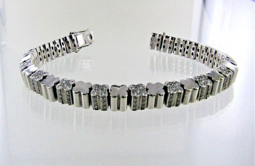 "18KT WHITE GOLD DIAMOND FLUTED LINKS BRACELET 7.5"" 012165702"