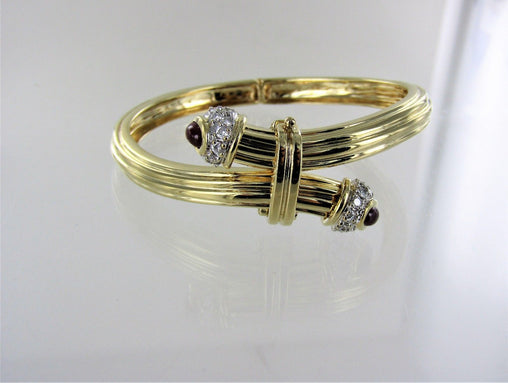 "14KT YELLOW GOLD BANGLE WITH DIAMONDS AND RUBIES 3"" 016592801"
