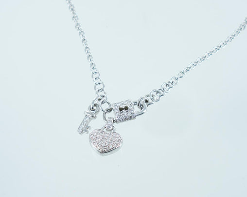 14KT WHITE GOLD PAVE DIAMOND HEART, LOCK & KEY PENDANT & CHAIN 2.00ATW 15985205