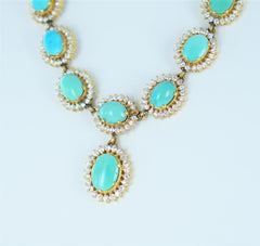 LADIES 20KT YELLOW GOLD TURQUOISE & WHITE STONE DROP NECKLACE 016491114