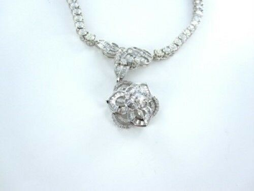 18KT WHITE GOLD NECKLACE 205 DIAMOND FLOWER 23.8DWT FINE JEWELRY 3CT (13824001)