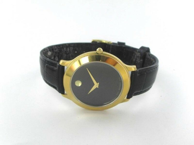 MOVADO GENTS STAINLESS STEEL GOLD TONE SWISS MADE LEATHER BAND (15574201)