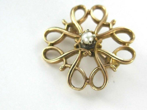 10KT YELLOW GOLD PIN BROOCH VINTAGE CHRISTMAS SEED PEARl (990025849)