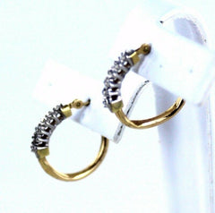 10KT SOLID YELLOW GOLD 12 DIAMONDS HOOP EARRINGS CLARITY CONFIDENCE  (990050815)