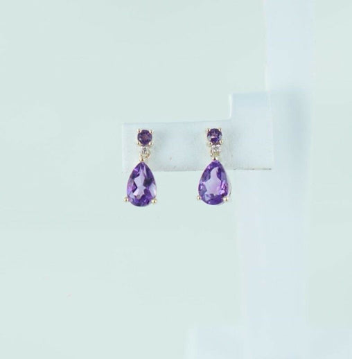 10KT YELLOW GOLD AMETHYST & DIAMOND EARRINGS .02 ATW (16613114)