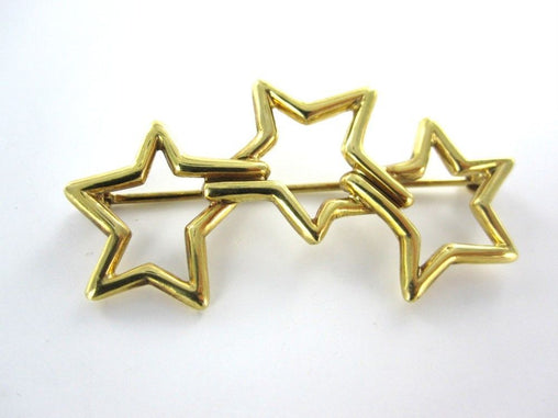 012859005 VINTAGE TIFFANY & CO 18KT YELLOW GOLD 1986 PIN BROOCH THREE STAR