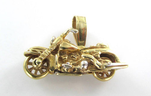 14K KARAT SOLID YELLOW GOLD PENDANT MOTORCYCLE BIKE BERK 1996 VINTAGE DIAMOND