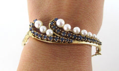 014498201 14K GOLD BRACELET BANGLE PEARL SAPPHIRE ANTIQUE COLLECTORS VINTAGE