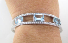 014623202 18K WHITE GOLD BRACELET BANGLE AQUAMARINE DIAMONDS L&P DESIGNER 22.5