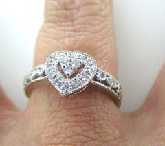 10KT WHITE GOLD RING HEART 23 DIAS .15CT SZ 7 WEDDING BAND ENGAGEMENT 016114410