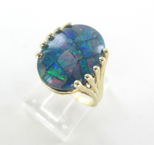 10K YELLOW GOLD RING OPAL DOUBLET SZ 7 FINE JEWELRY 3.8 G NO SCRAP WEDDING BAND