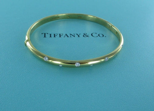 014736514 TIFFANY & CO ETOILE 18KT YELLOW GOLD PLATINUM DIAMOND BRACELET BANGLE