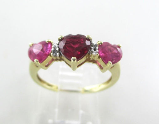 10K GOLD RING RED PINK HEART 4 VALENTINE DIAMONDS ENGAGEMENT WEDDING